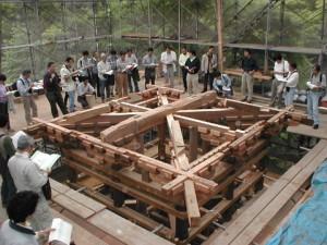 重要文化財円教寺鐘楼修理工事現場 演習